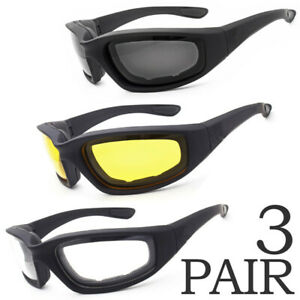 3 Pair Motorcycle Sports Biker Riding Glasses Padded Wind Resistant Sunglasses $9.79