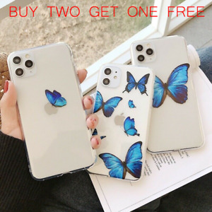 For iPhone 11 Pro Max X XR Xs Max 7 8 SE2 Butterfly Cute TPU Soft Phone Case