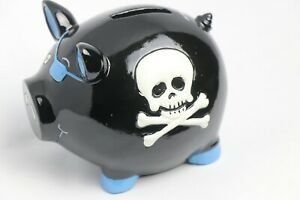 Black and Blue Pirate Pig w Skull and Crossbones Piggy Bank Coin Bank