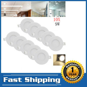 1-20X Natural White 9W Round Panel LED Recessed Light Bulb Slim Lamp Ceiling