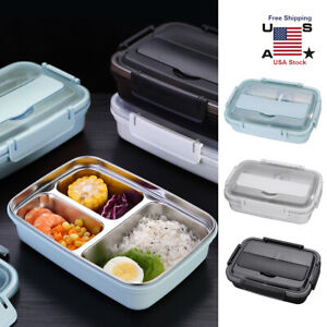 Stainless Steel Thermal Insulated Lunch Box Bento Food Container Student Adults