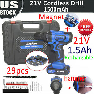 Cordless Drill Screwdriver Kit 21V With 2 Lithium-Ion Battery 29pc Accessory Set