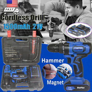 21V Powerful Cordless Drill Set & Screwdriver W/ Lithium-Ion Battery & LED Light