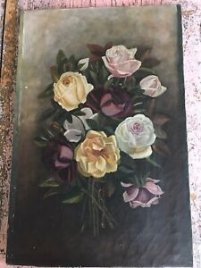 Lovely Old Antique Vintage Pink Red Yellow Roses Oil Painting Canvas Victorian