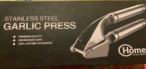 Stainless Steel Garlic Press Home Green- Silicone Peeler & Cleaning Brush- New!