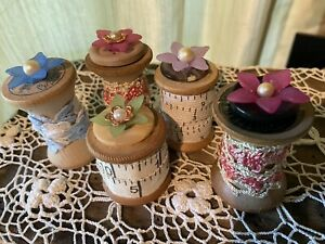 Vintage Sewing Spools Decorated For Display With Antique Jewelry Lace Set 5 $19.99