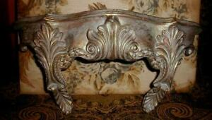 Antique French Plaster Rococo Gilded Wall Shelf Original Paint Gold Gilt w Blue $38.00