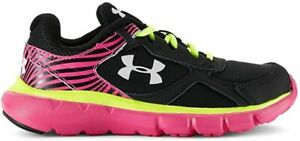 Under Armour Kids Girls' GPS Velocity RN Running Shoe, Black Pink, 5.5 M US $24.99