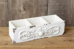 New Shabby Chic White Vintage Style Drawer Box Wood Divided Organier Basket