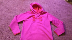 Under Armour Pull Over Hoodie Jacket Girl's Size Lg Pink Graphic Red Camouflage $10.95