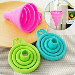 Kitchen Tool Foldable Practical Collapsible Silicone Funnel Hopper Gadget MP