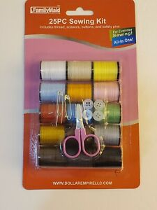 25pc Sewing Kit includes assorted thread buttons scissors and safety pins $9.99