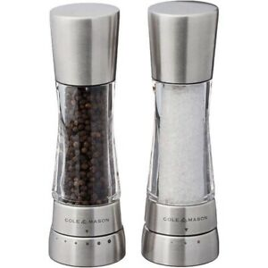 COLE & MASON Derwent Salt and Pepper Grinder Set - Stainless Steel , Open Box