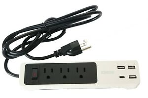 Surge Protector Power Strip 3 Ports with 3 USB Fast Charging Ports + 1 USB-C