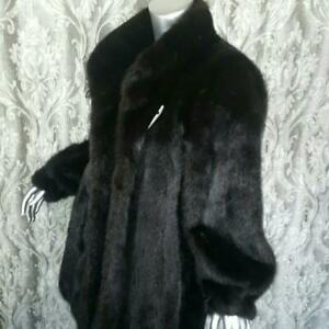 $6K~DILLARDS~SAGA~SZ L~VINTAGE BLACK BROWN RANCH GENUINE REAL MINK FUR COAT