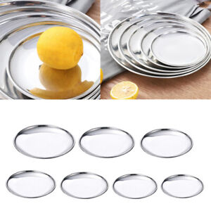 7pcs Stainless Steel Round Plate Set Metal Dish Salad Plates Dinnerware BBQ