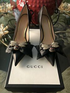 100% Authentic GUCCI Queen Bee Black Leather Crystal Bow Heel $1200+Tax