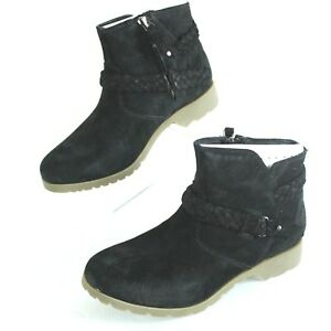 Teva Womens 6 Delavina Ankle Bootie Black Suede Leather NIB Winter Trends $29.91
