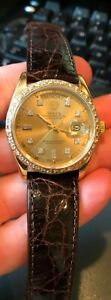 Rolex Vintage Quickset Day-Date 18038 Champagne Diamond dial and Bezel 36MM