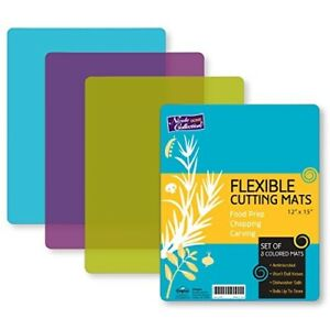 Flexible Kitchen Cutting Board Set of 3 Colored Mats Colors May Vary 12