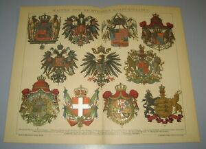 Coats of arms of leading European countries chromolithography 1898 $12.00