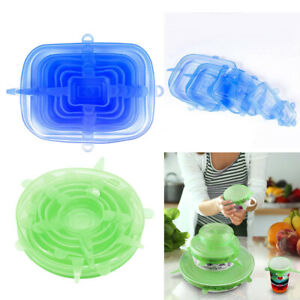 2 Set Kitchen SAFETY Silicone Stretchable Wrap Lids Bowl Covers Non-toxic