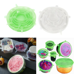 Clear & Green Silicone Stretchable Round Seal Lids Pot Cup Bowl Covers