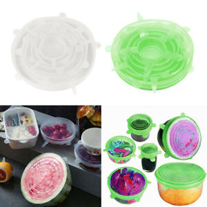 Clear & Green Reusable Silicone Stretchable Round Seal Lids Pot Bowl Covers