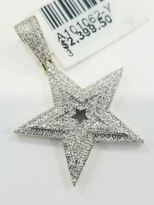 Clearance Yellow Gold Genuine Diamond Pendant Star Iced Charm Emoji Mario