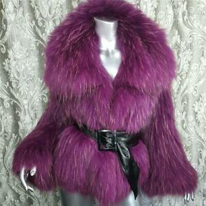 NWT~$2200~CURVE NYC~ML~GENUINE DYED PURPLE REAL RACCOON FUR COAT JACKET~NOT FOX