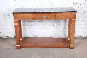 Baker Furniture Burl Wood and Italian Marble Neoclassical Console Table $2695.00