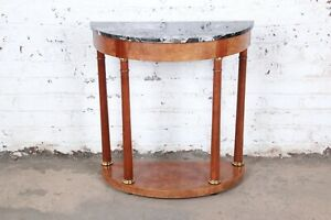 Baker Furniture Burl Wood and Italian Marble Neoclassical Demilune Console Table $2495.00