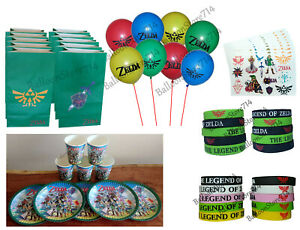Zelda Birthday Party Sets ~ Cups Plates Balloons Goody Bags Bracelets Tattoos