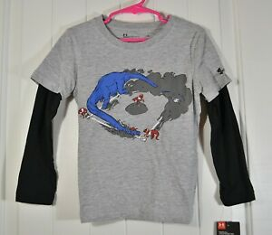 NWT BABY BOY TODDLER UNDER ARMOUR GRAY LONG SLEEVE SHIRT SIZE 2T 4 6 7 $12.00