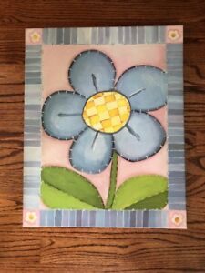 POTTERY BARN KIDS CANVAS WRAPPED FLOWER WALL ART PICTURE