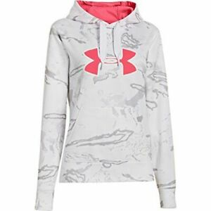 UNDER ARMOUR White Camo Gray Hoodie Pink Big Logo Pullover Womens S NWOT $20.00