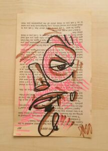 Vtg Book Page Drawing 6.75quot; Original Art Modern OUTSIDER GRAFFITI Indie EAO $33.00