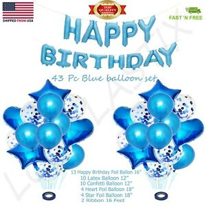 43pcs/Set Blue Confetti Latex Metallic Balloons happy Birthday 16