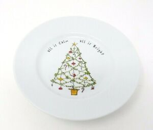 Pottery Barn Holiday Cheer Salad Plate Christmas Tree All Is Calm Bright (A38)