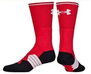UNDER ARMOUR HighLight Football Graphic RED White Crew Socks Mens XL Fits 13 16 $15.04