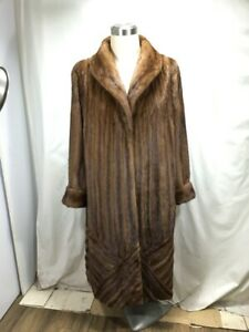 5XL PLUS SIZE US REAL FUR DEMIBUFF F MINK LETOUT DESIGN LADY LONG COAT FREE SHIP