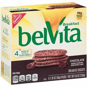 belVita Chocolate Breakfast Biscuits 5 Packs 4 Biscuits Per Pack