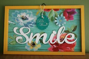 The Pioneer Woman Smile Hanging Wooden Sign With Metal Flower