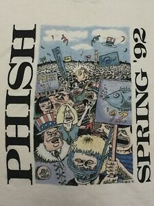 Phish Original Pollock Vintage 1992 Spring T Shirt Pre Dry Goods XL Sized L Fit $319.99