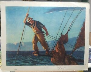 Gifford Beal Vintage Lithograph Print quot;The Fisherquot; 1950#x27;s 26.5quot;×33.5quot; $95.00
