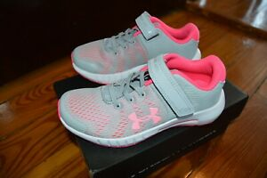 NEW NIB Girls Under Armour Pink Gray Sneaker Tennis Shoes Velcro 3022094 12 12K $34.99