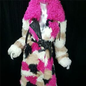 $3000~DROME~ML~PINK BLACK GENUINE REAL CURLY LAMB SHEEPSKIN FUR COAT NOT FOX