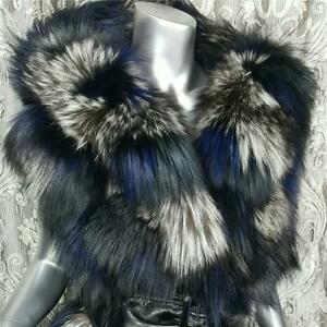 $4000~DENNIS BASSO~LXL~GENUINE DYED BLACK BLUE FOX FUR HOODED VEST JACKET COAT