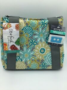 Fit & Fresh Women's Insulated Lunch Bag With Ice Pack Floral Pattern