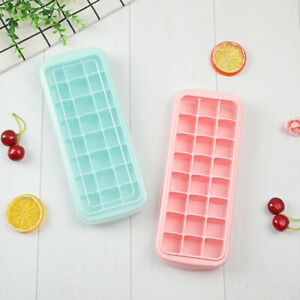 24 Lots Home Made Ice Cube Tray Maker Mold Soft Silicon with PP Lid, BPA free